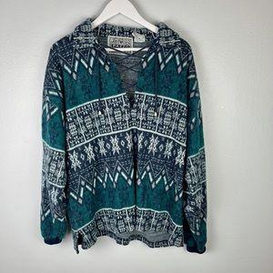 VINTAGE |Pazzo Tribal Print V-neck Sweater | SZ XL